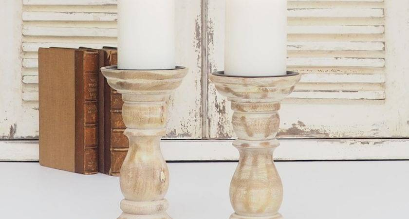White Distressed Wooden Candle Holder Zaza Homes
