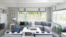 White Gray Cottage Living Room Pops Blue