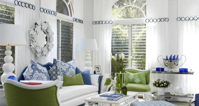 White Living Room Blue Green Accents