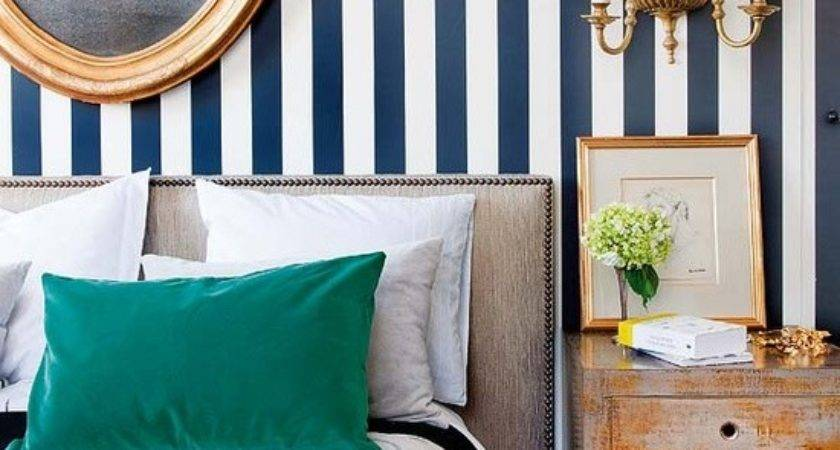 White Navy Blue Striped Wall Eclectic Bedroom