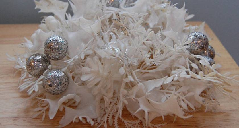 White Silver Christmas Candle Centerpiece