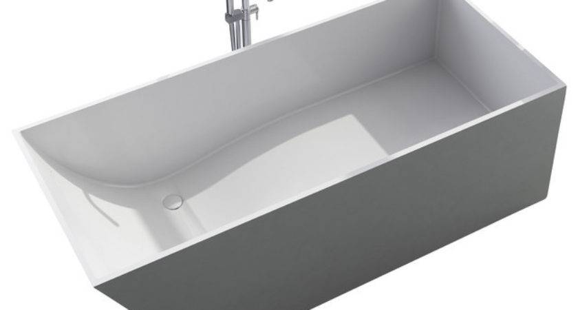 White Stand Alone Resin Bathtub Contemporary Bathtubs