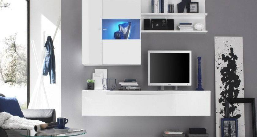 White Wall Units Living Room Modern House