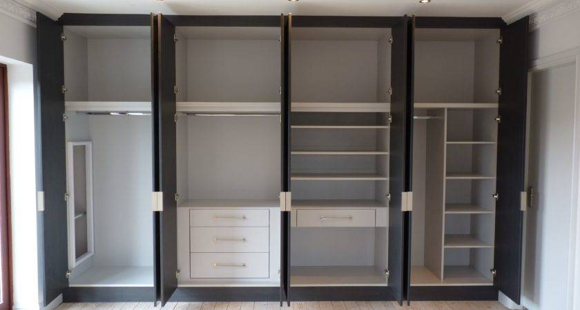 Without Door Built Wardrobe White Black Color