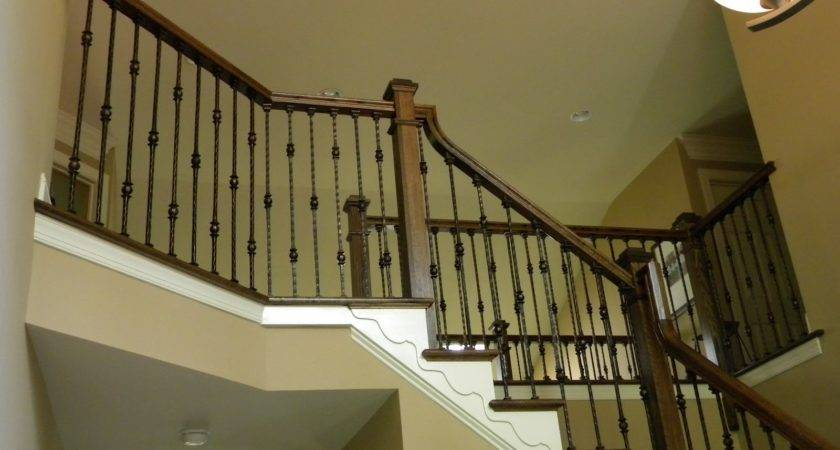Wood Stairs Rails Iron Balusters