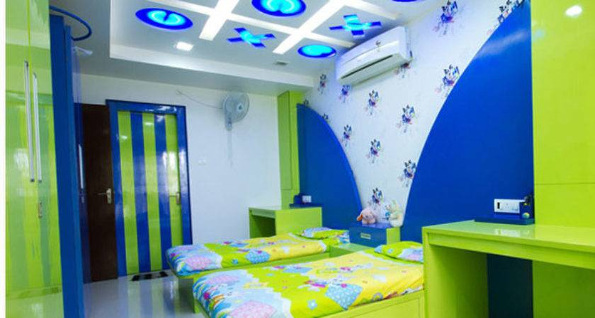 Wooden Rooms Designs Lime Green Blue Bedroom