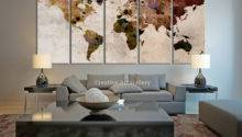 World Map Large Canvas Print Rustic Extralargewallart