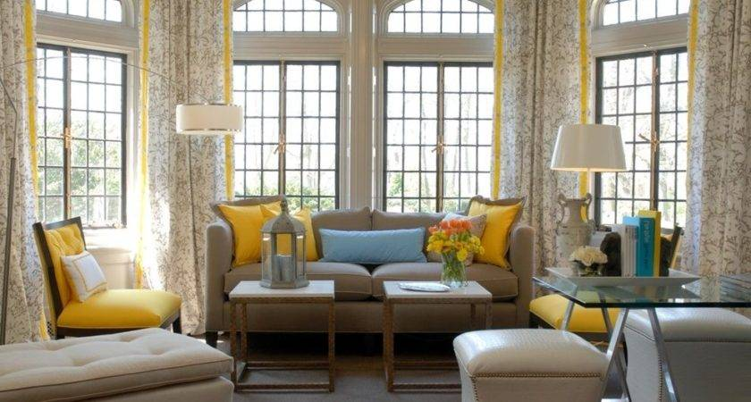 Yellow Accent Chair Living Room Transitional Glass