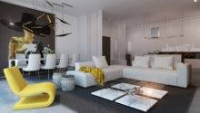 Yellow Accent Living Room Interior Design Ideas