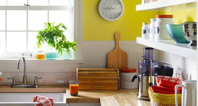 Yellow Accent Wall White Wooden Floating Shelves