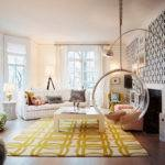 Yellow Black Living Room Bubble Swing Interior Design
