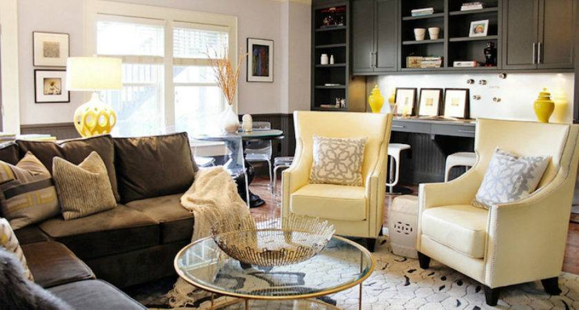 Yellow Brown Living Room Contemporary