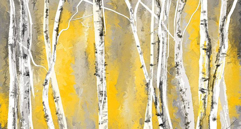 Yellow Gray Birch Trees Painting Lourry Legarde