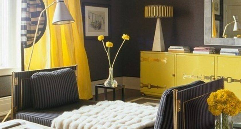 Yellow Gray Curtains Contemporary Living Room