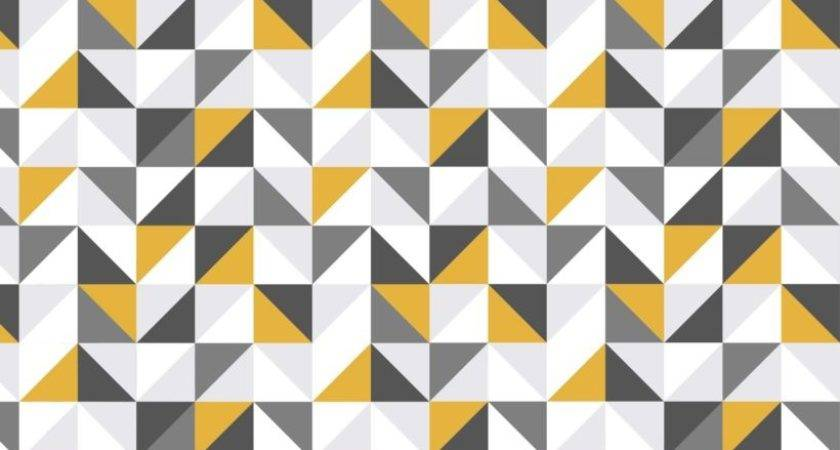 Yellow Grey Abstract Geometric Murals