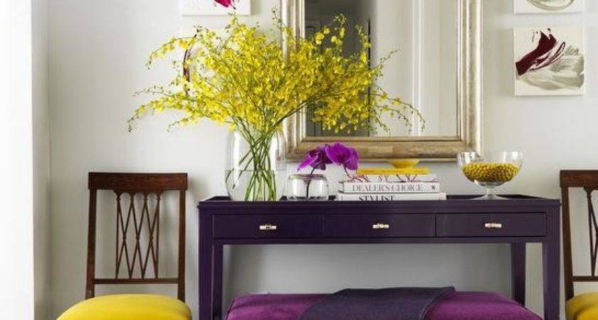 Yellow Purple Foyer Contemporary Entrance
