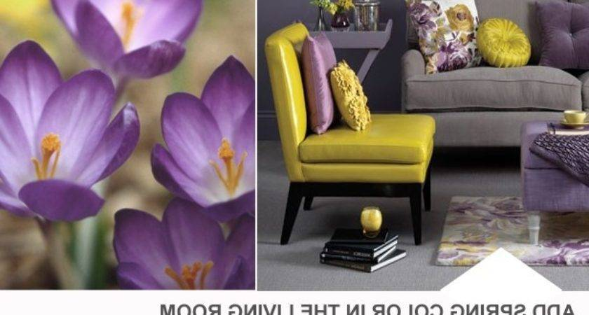 Yellow Purple Gray Living Room Color Palette Hgtv