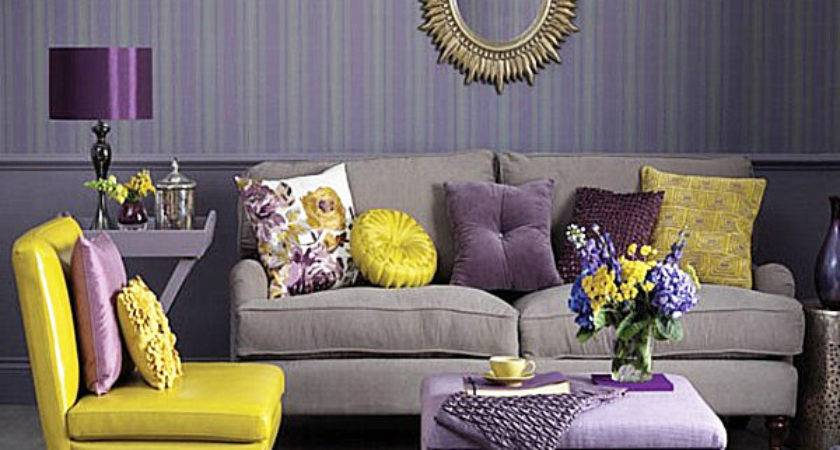 Yellow Purple Grey Living Room Modern House