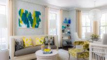Yellow Turquoise Abstract Art Transitional Living