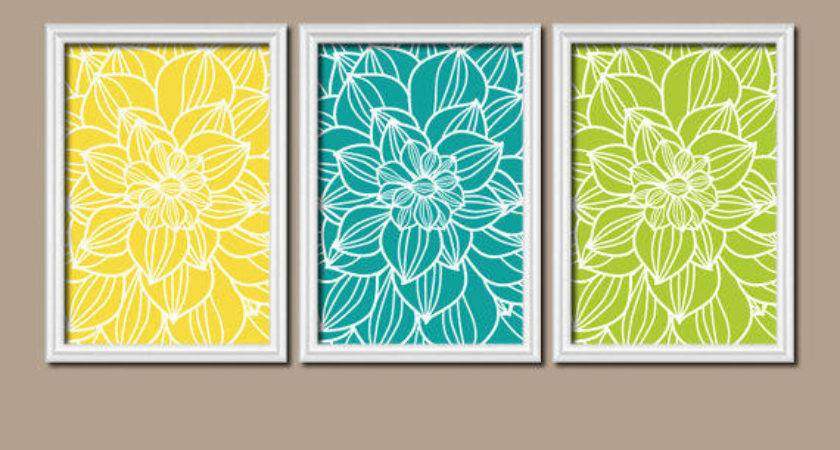 Yellow Turquoise Lime Bedroom Wall Art Trm Design