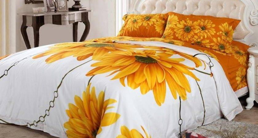 Yellow White Orange Sunflower Blossom Print
